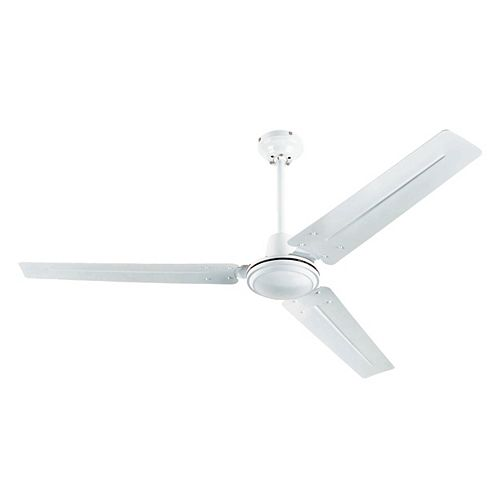 Industrial 56-inch (142cm) Three-Steel Blade Indoor Ceiling Fan in White