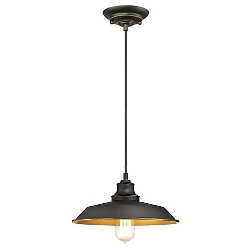 Iron Hill 1-Light 60W Oil Rubbed Bronze Pendant