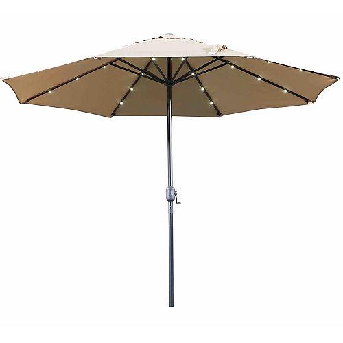 10 ft. Denia Patio LED Market Umbrella in Mocha