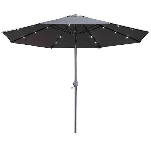 10 ft. Denia Patio LED Market Umbrella in Dark Grey