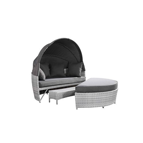Sogno Deluxe All-Weather Wicker Patio Day Bed in Light Grey with Grey Cushions