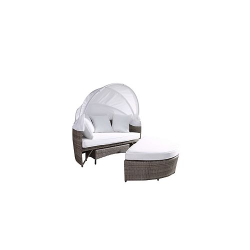 Sogno Deluxe Beige All-Weather Wicker Patio Day Bed with White Cushions