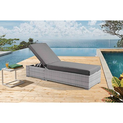 Torino Light Grey All-Weather Wicker Chaise Lounger with Dark Grey Cushions