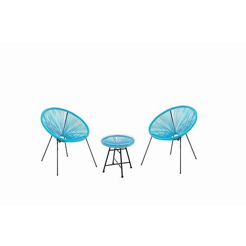 Acapulco Turquoise 3-Piece Retro Design Bistro Set