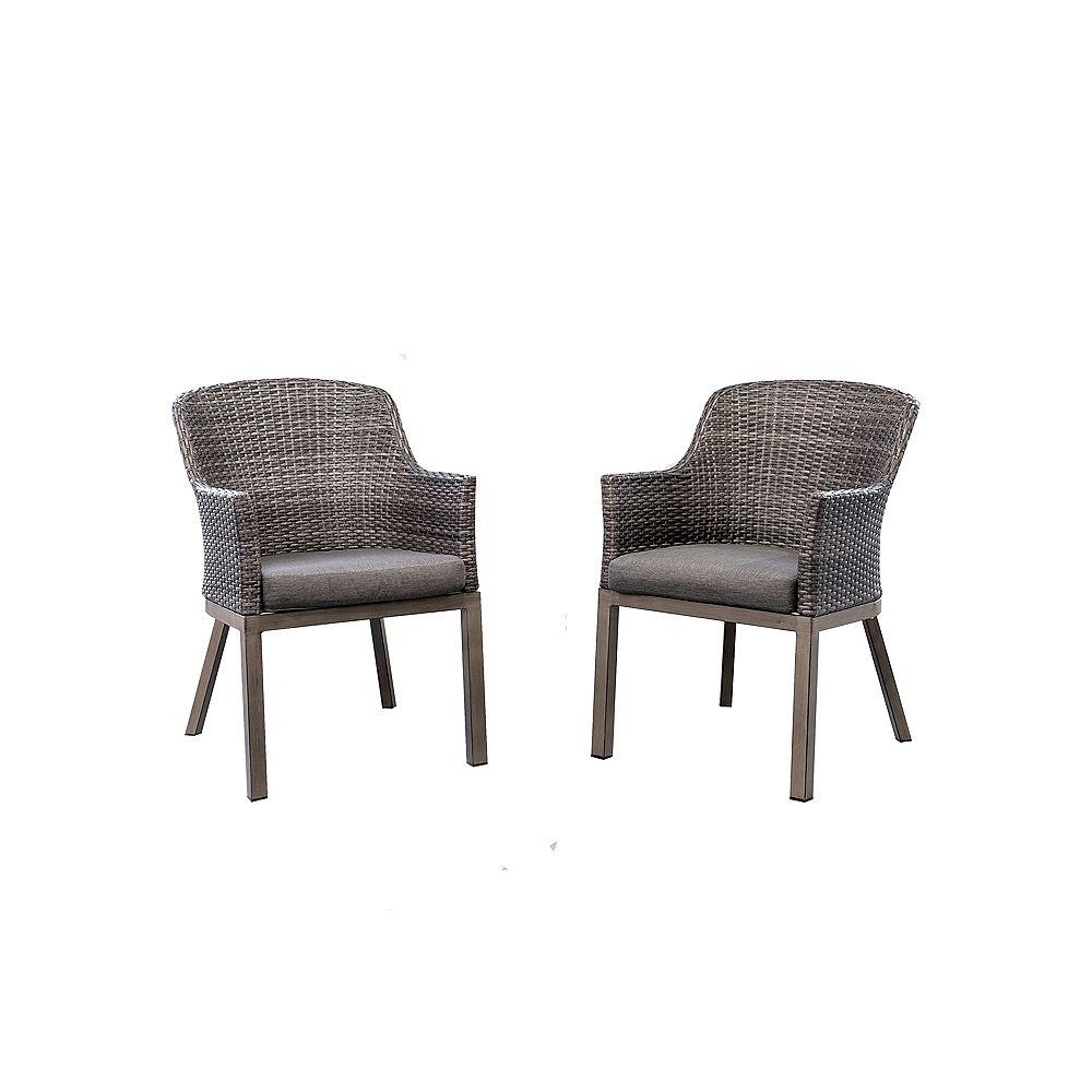 Hampton Bay Crown View Chaise de salle à manger d'extérieur en osier avec coussins de siège gris (paquet de 2)