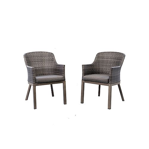 Crown View Wicker Outdoor Patio Dining Chair with Grey Seat Pads (2-Pack)