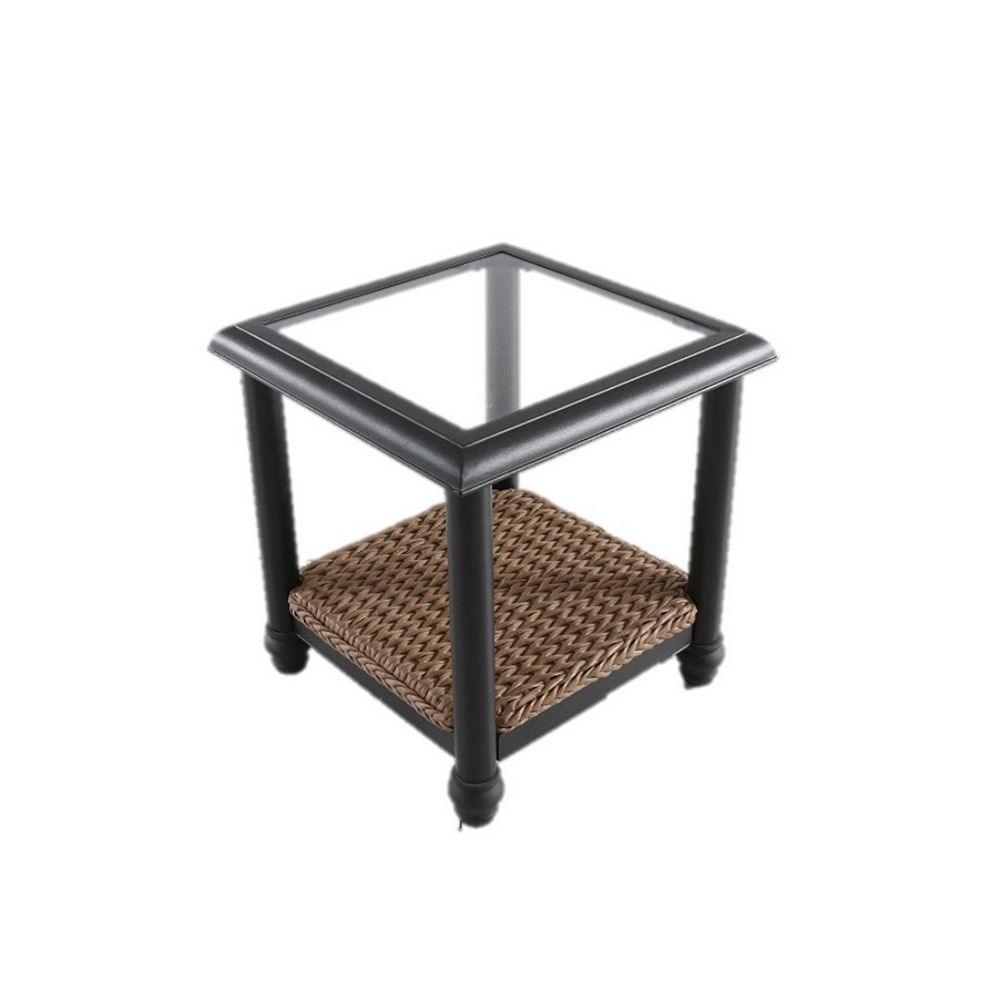Home Decorators Collection Camden Light Brown Wicker Outdoor Patio Side Table