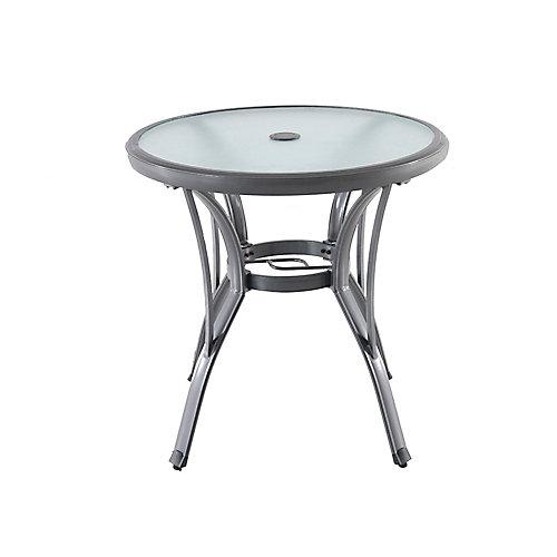 Table bistro de jardin ronde, aluminium de qualité commerciale, gris