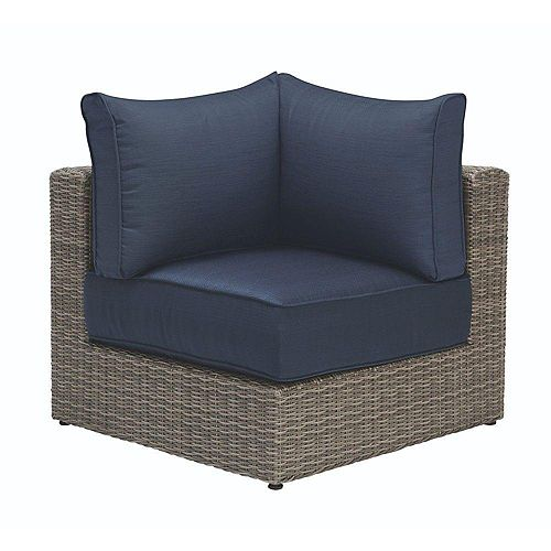 Naples All-Weather Wicker Corner Patio Sectional Chair in Grey with Hinged Cushions in Navy