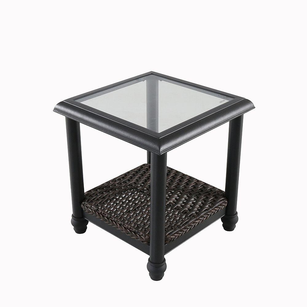 Home Decorators Collection Camden Dark Brown Wicker Outdoor Patio Side Table