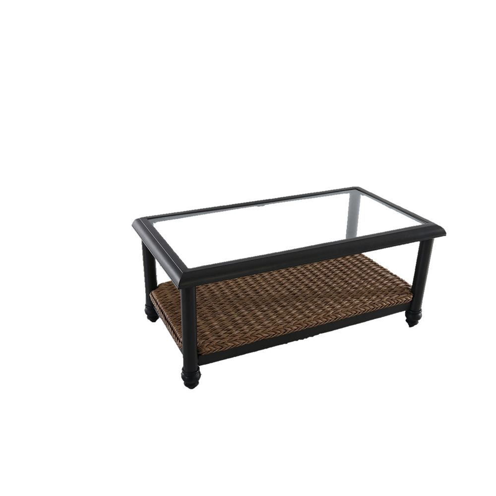 Home Decorators Collection Camden Light Brown Wicker Outdoor Patio Coffee Table