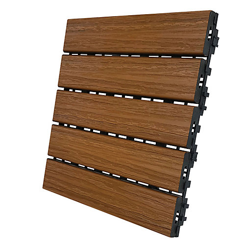 12 In. x 12 In. Deck and Balcony Tile - Honey Teak - (6 sq. ft./case)