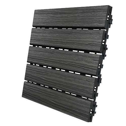 12 In. x 12 In. Deck and Balcony Tile - Driftwood - (6 sq. ft./case)