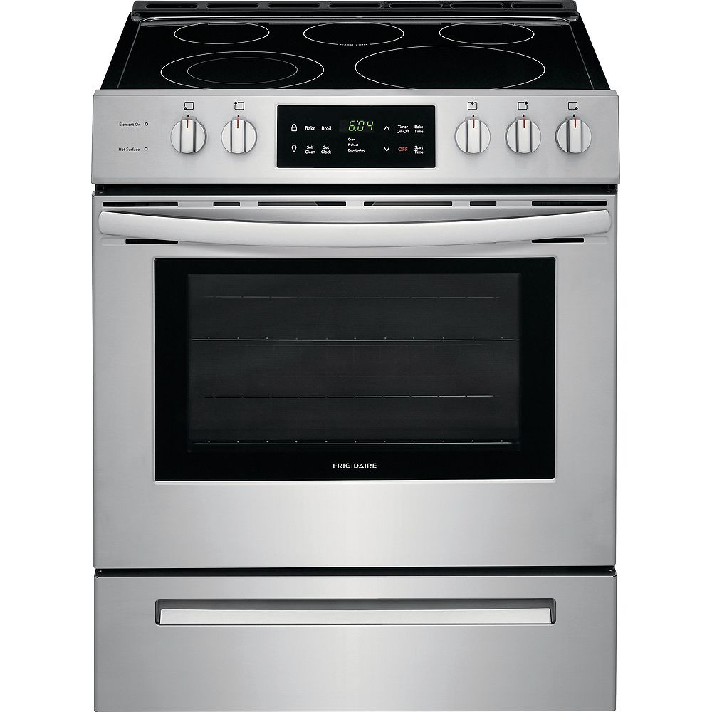 Frigidaire 30-inch 5.0 cu. ft. Front Control Freestanding Electric Range with Self-Cleaning Oven in Stainless Steel