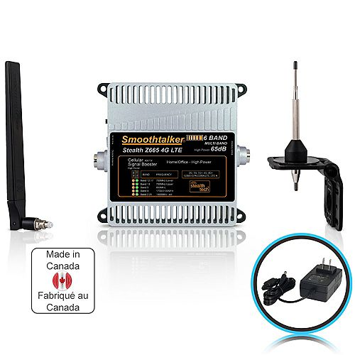 SmoothTalker Stealth Z6 65dB 6-Band 3G 4G LTE High Power Building Booster Kit With Omni Directional Antennas