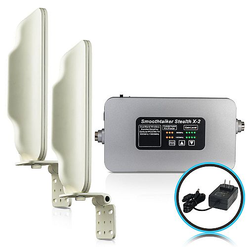 SmoothTalker Stealth X2 60dB High Power Booster For Buildings With 2 High Gain Directional Antennas