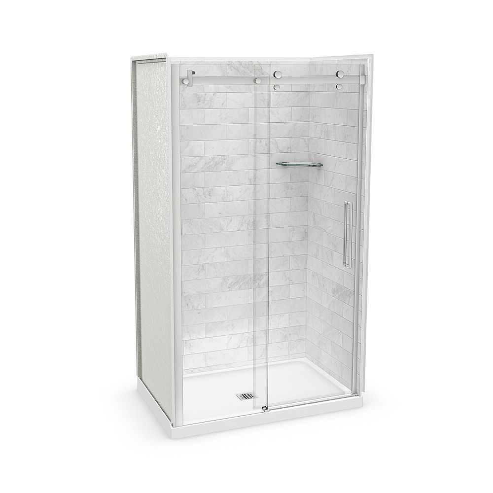 MAAX Utile 48-inch x 32-inch x 84-inch Marble Carrara Alcove Shower Kit Center Drain with Door in Chrome