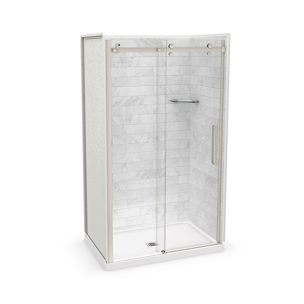 MAAX Utile 48-inch x 32-inch x 84-inch Marble Carrara Alcove Shower Kit Center Drain with Door in Brushed Nickel