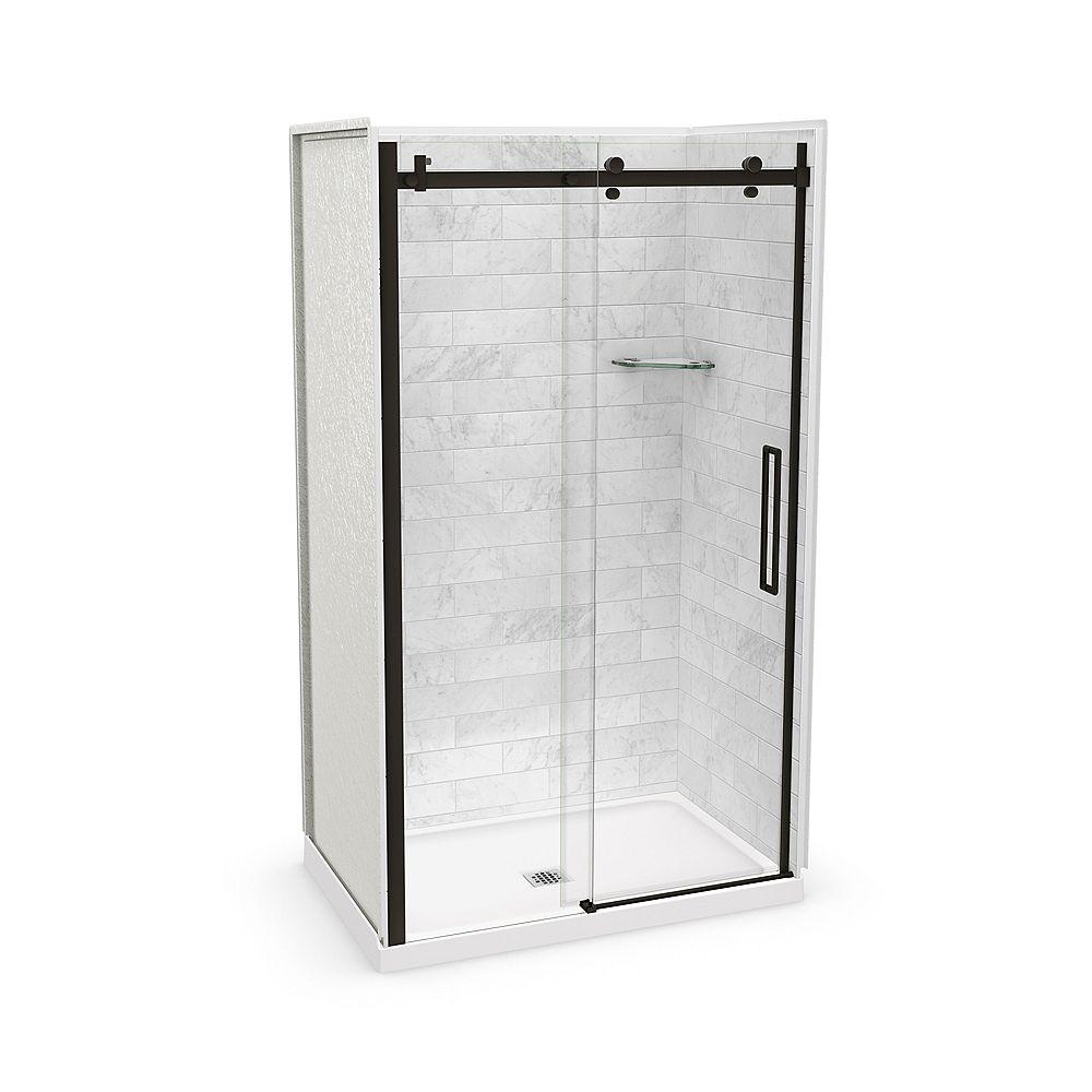 MAAX Utile 48-inch x 32-inch x 84-inch Marble Carrara Alcove Shower Kit Center Drain with Door in Dark Bronze