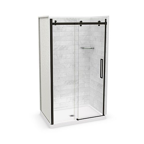 Utile 48-inch x 32-inch x 84-inch Marble Carrara Alcove Shower Kit Center Drain with Door in Dark Bronze