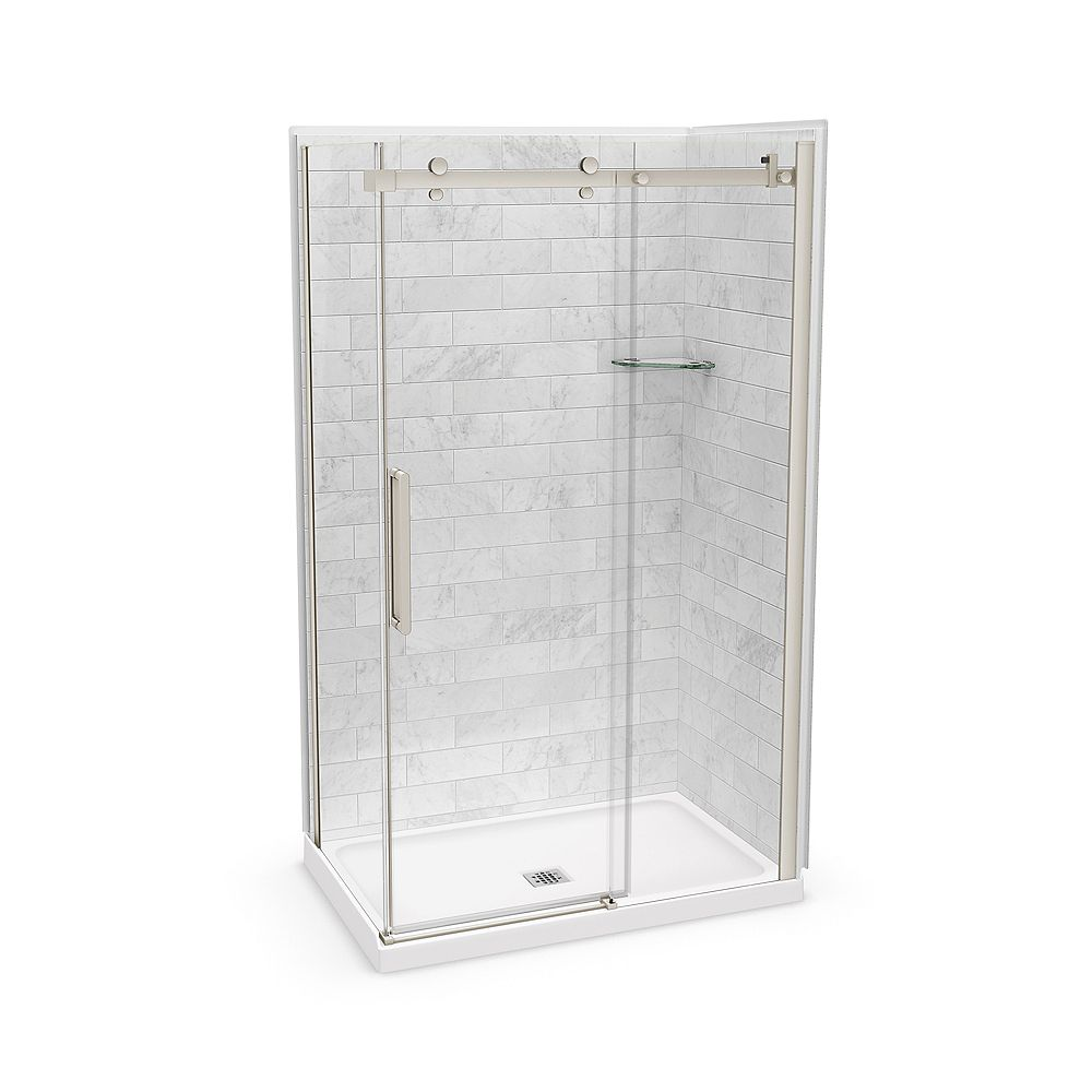 MAAX Utile 48-inch x 32-inch x 84-inch Marble Carrara Corner Shower Kit Center Drain with Door in Chrome