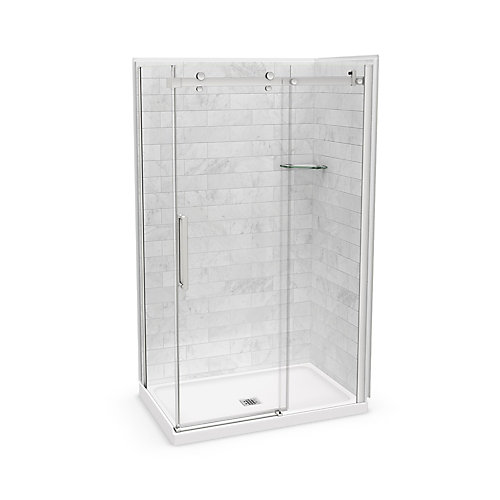Ensemble de douche en coin, Utile Marbre Carrara, 48 x 32 x 84 po, drain central, porte nickel