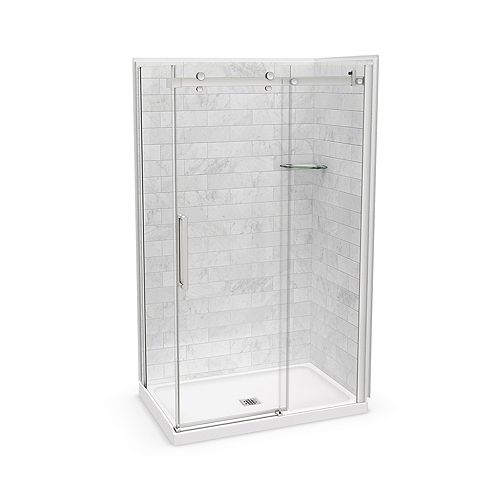 Utile 48-inch x 32-inch x 84-inch Marble Carrara Corner Shower Kit Center Drain with Door in Brushed Nickel