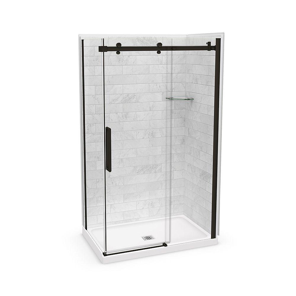 MAAX Utile 48-inch x 32-inch x 84-inch Marble Carrara Corner Shower Kit Center Drain with Door in Dark Bronze