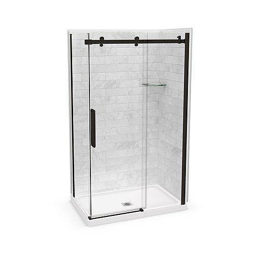 Utile 48-inch x 32-inch x 84-inch Marble Carrara Corner Shower Kit Center Drain with Door in Dark Bronze