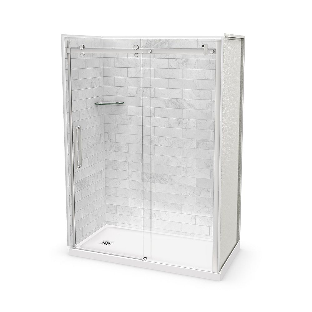 MAAX Utile 60-inch x 32-inch x 84-inch Marble Carrara Alcove Shower Kit Left Drain with Door in Chrome