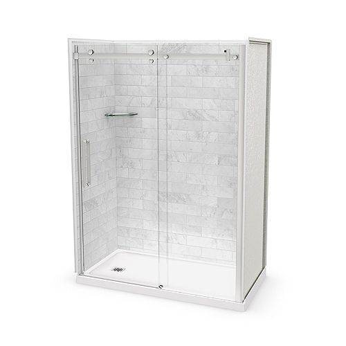 Utile 60-inch x 32-inch x 84-inch Marble Carrara Alcove Shower Kit Left Drain with Door in Chrome