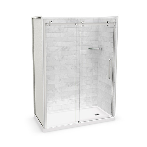 Utile 60-inch x 32-inch x 84-inch Marble Carrara Alcove Shower Kit Right Drain with Door in Chrome
