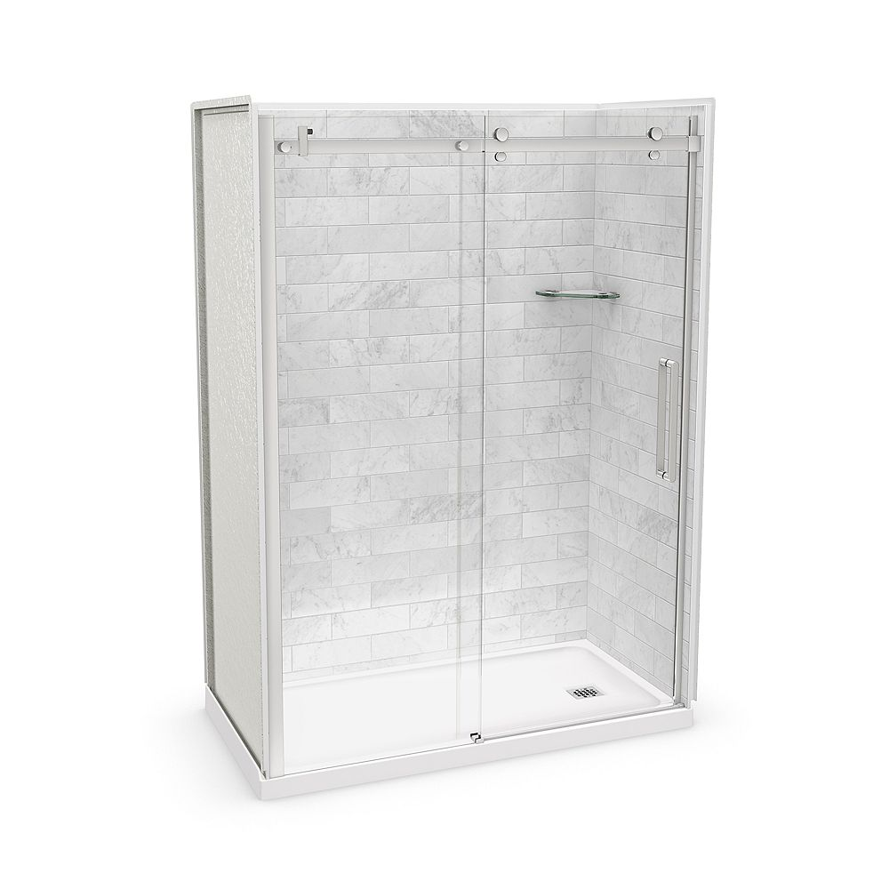 MAAX Utile 60-inch x 32-inch x 84-inch Marble Carrara Alcove Shower Kit Right Drain with Door in Chrome