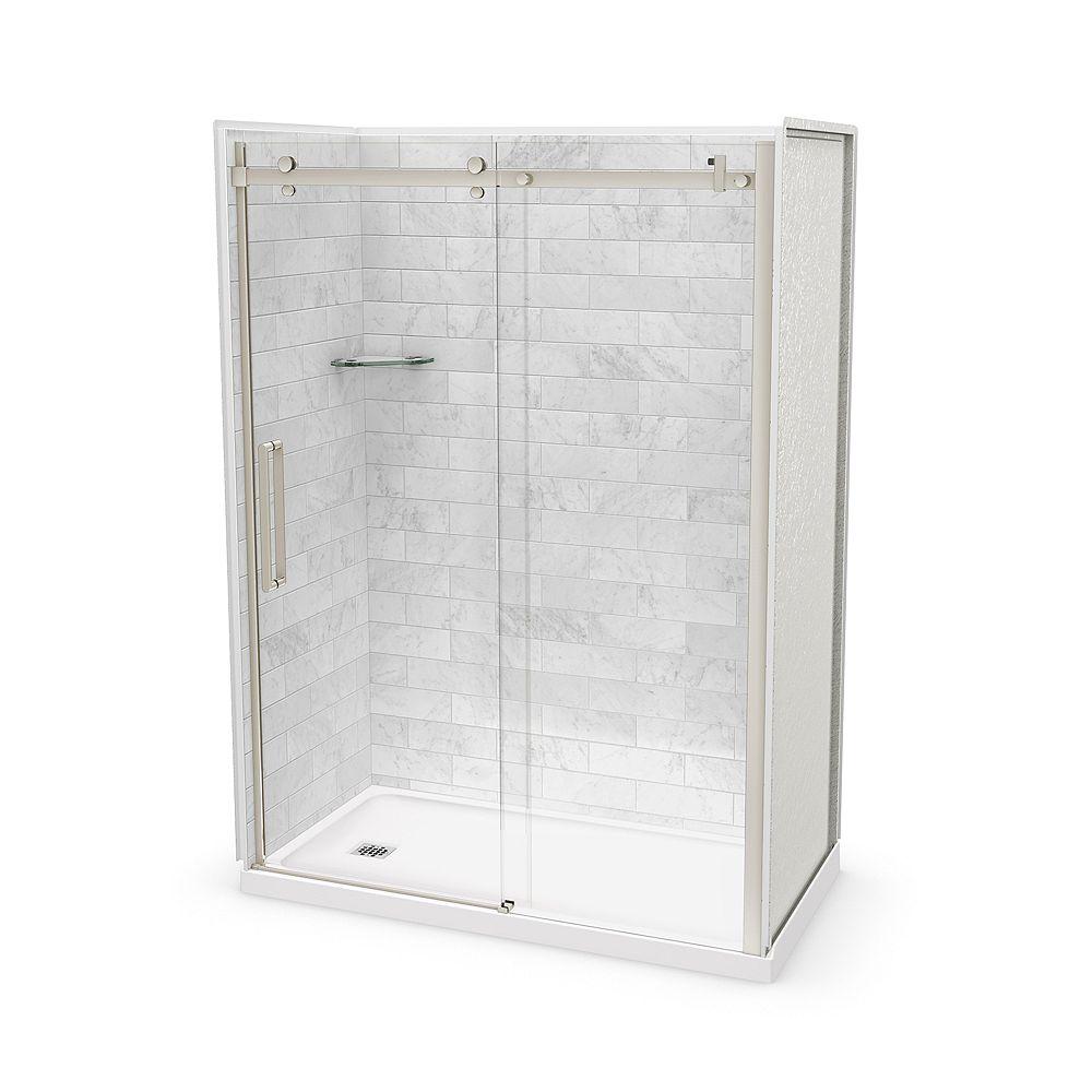 MAAX Ensemble de douche alcove, Utile Marbre Carrara, 60 x 32 x 84 po, drain à gauche, porte nickel