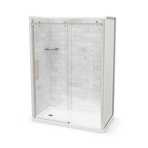 Utile 60-inch x 32-inch x 84-inch Marble Carrara Alcove Shower Kit Left Drain with Door in Brushed Nickel