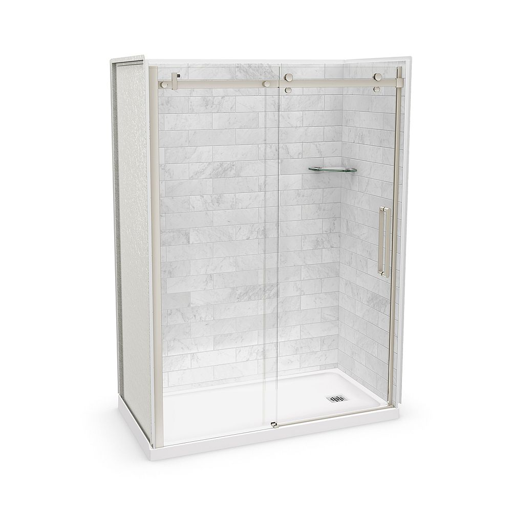 MAAX Utile 60-inch x 32-inch x 84-inch Marble Carrara Alcove Shower Kit Right Drain with Door in Brushed Nickel