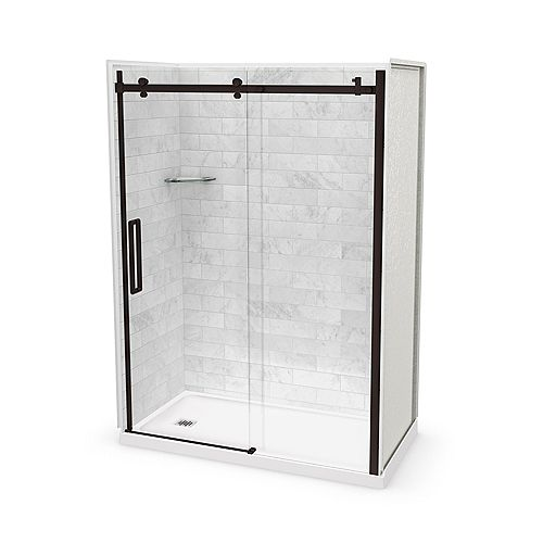 Utile 60-inch x 32-inch x 84-inch Marble Carrara Alcove Shower Kit Left Drain with Door in Dark Bronze