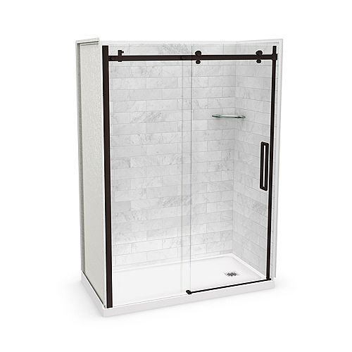 Utile 60-inch x 32-inch x 84-inch Marble Carrara Alcove Shower Kit Right Drain with Door in Dark Bronze