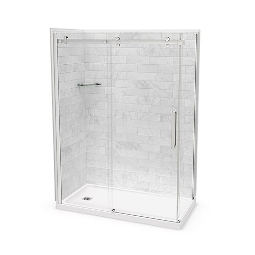 Utile 60-inch x 32-inch x 84-inch Marble Carrara Corner Shower Kit Left Drain with Door in Chrome