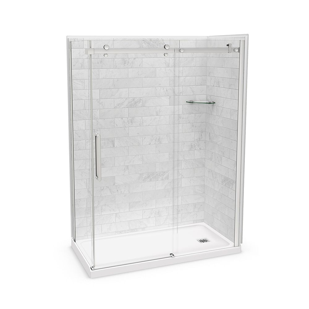 MAAX Utile 60-inch x 32-inch x 84-inch Marble Carrara Corner Shower Kit Right Drain with Door in Chrome