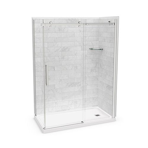 Utile 60-inch x 32-inch x 84-inch Marble Carrara Corner Shower Kit Right Drain with Door in Chrome