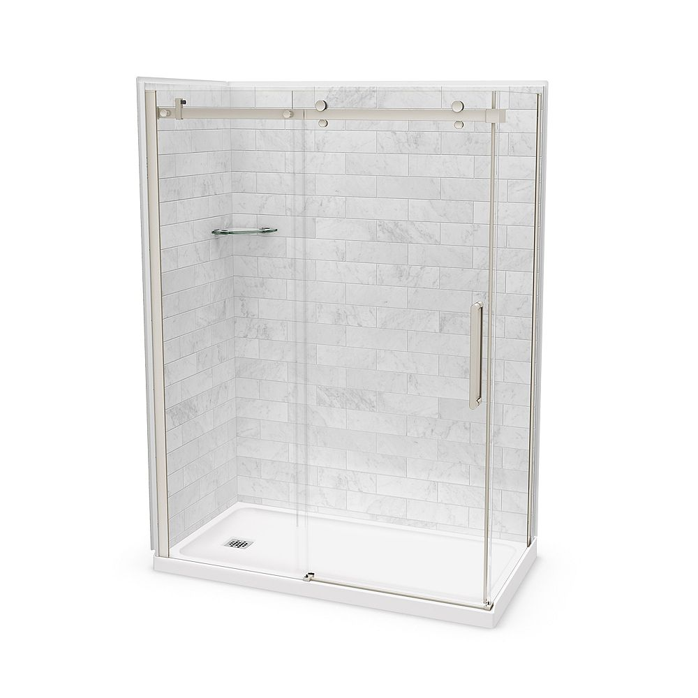 MAAX Utile 60-inch x 32-inch x 84-inch Marble Carrara Corner Shower Kit Left Drain with Door in Brushed Nickel