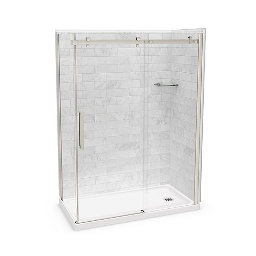 Utile 60-inch x 32-inch x 84-inch Marble Carrara Corner Shower Kit Right Drain with Door in Brushed Nickel
