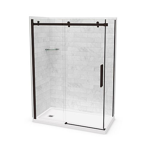 Utile 60-inch x 32-inch x 84-inch Marble Carrara Corner Shower Kit Left Drain with Door in Dark Bronze
