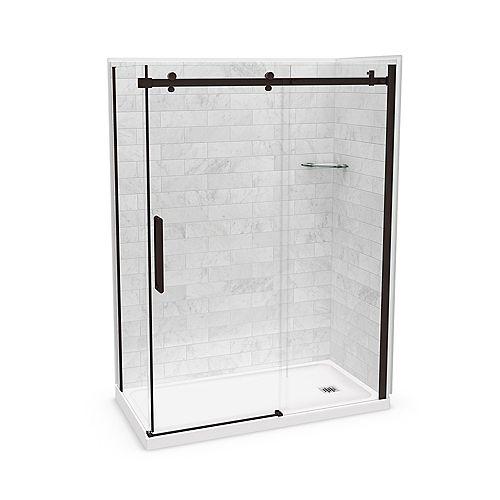 Utile 60-inch x 32-inch x 84-inch Marble Carrara Corner Shower Kit Right Drain with Door in Dark Bronze