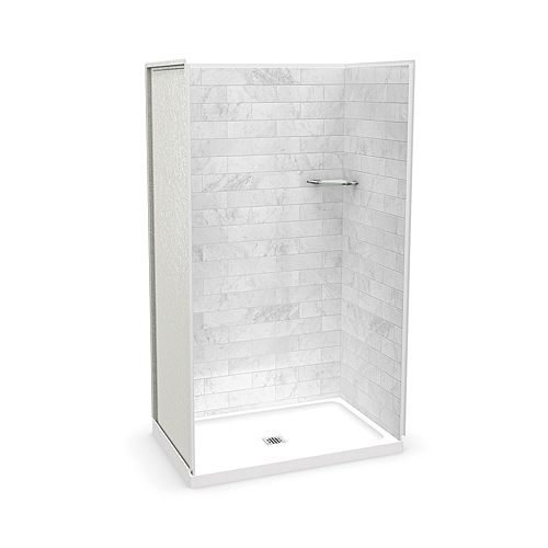 Utile 48-inch x 32-inch x 84-inch Marble Carrara Alcove Shower with Olympia Base Center Drain