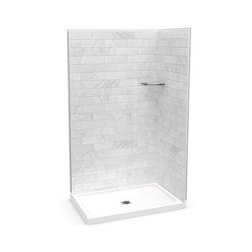 Utile 48-inch x 32-inch x 84-inch Marble Carrara Corner Shower with Olympia Base Center Drain