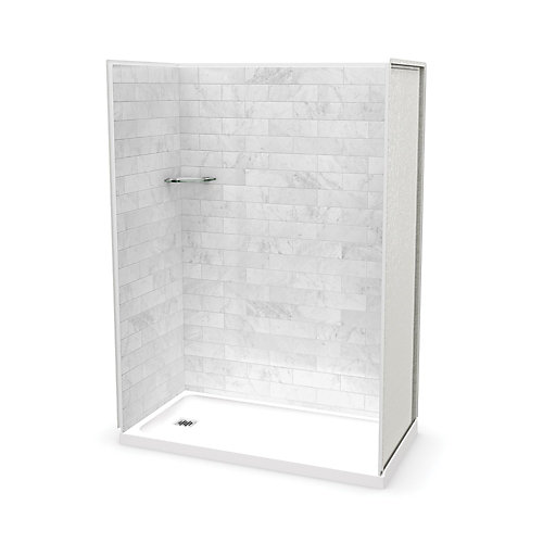 Utile 60-inch x 32-inch x 84-inch Marble Carrara Alcove Shower with Olympia Base Left Drain