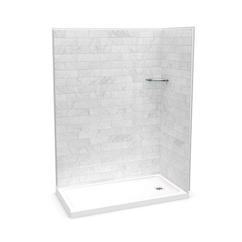 Utile 60-inch x 32-inch x 84-inch Marble Carrara Corner Shower with Olympia Base Left Drain