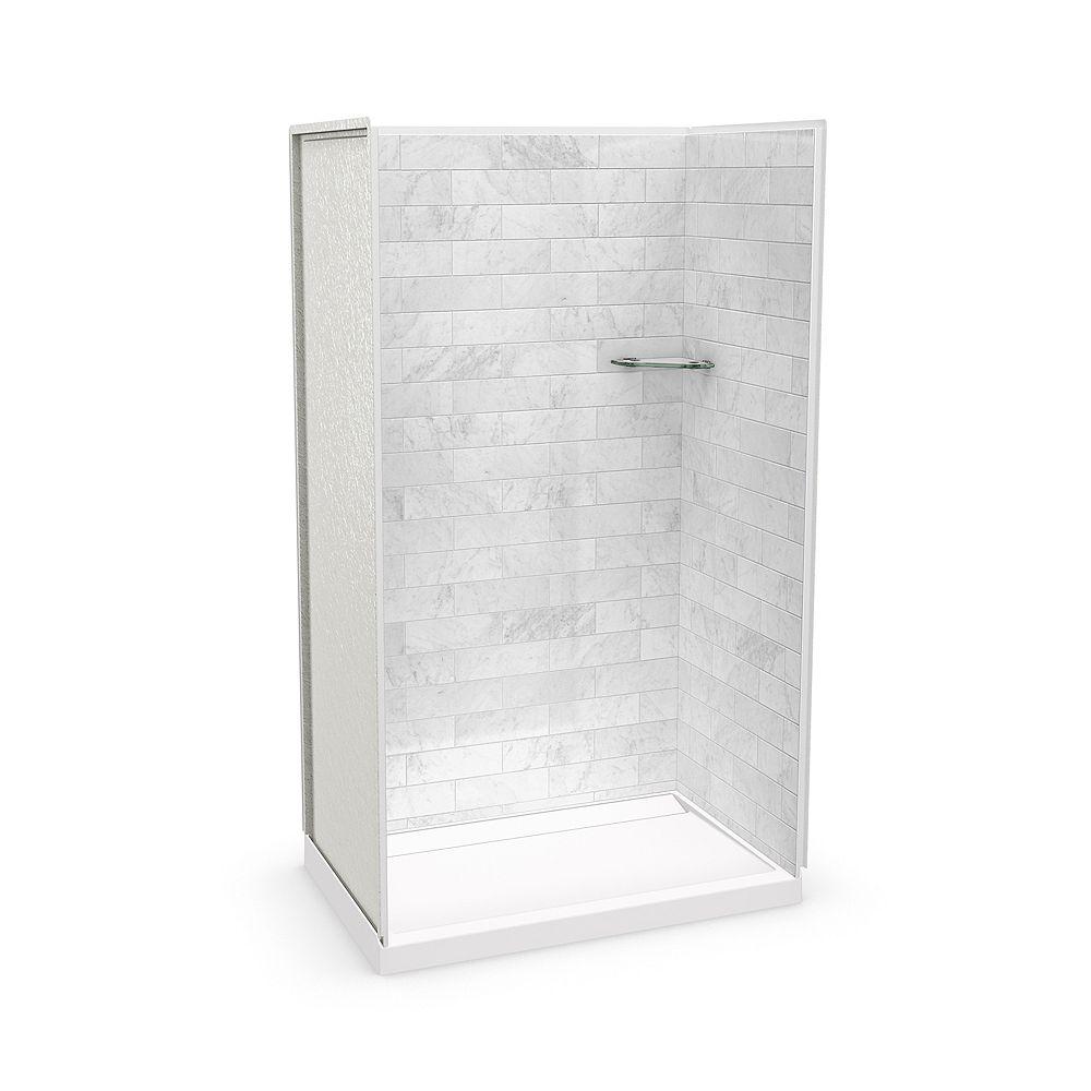 MAAX Utile 48-inch x 32-inch x 84-inch Marble Carrara Alcove Shower with Distinct Base Back-centre Drain